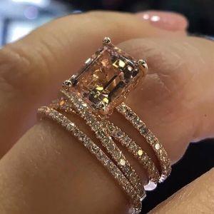 Champagne Zircon Rose Gold Cross Ring
